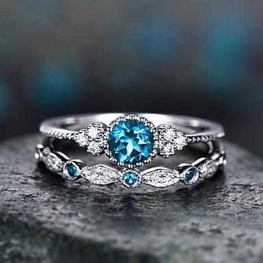 povoljno Prstenje-Žene Prsten Kubični Zirconia 2pcs purpurna boja Zelen Svjetloplav Legura Cirkularno pomodan Elegantno Vjenčanje Jewelry fantazija Heart