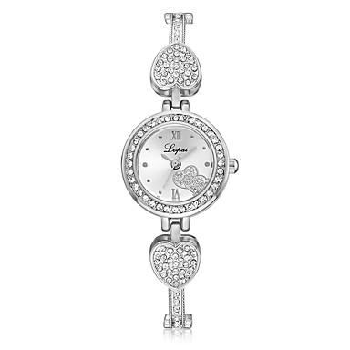 levne Pánské-Dámské Náramkové hodinky Kubický zirkon Heart Shape Na běžné nošení Stříbro Slitina Křemenný Stříbrná Hodinky na běžné nošení imitace Diamond 1 ks Analogové Jeden rok Životnost baterie