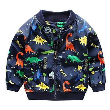 povoljno Odjeća za dječake-Djeca Dječaci Aktivan Dinosaur Print Pamuk Jakna i kaput Obala