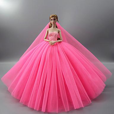 preiswerte Zubehör für Puppen-Puppenkleid Party / Abends Hochzeit Für Barbie Volltonfarbe Hellgelb Purpur Gelb Satin / Tüll Polyester 1 X Puppenkleidung Für Mädchen Puppe Spielzeug
