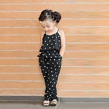 povoljno Kompletići za djevojčice-Dijete koje je tek prohodalo Djevojčice Slatka Style Dnevno Srce Print Bez rukávů Kombinezon Crn