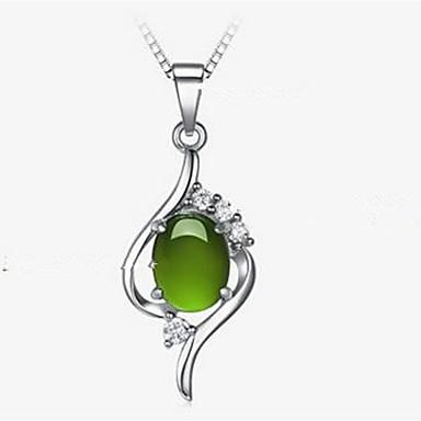 levne Dámské šperky-Dámské Zelená Kočičí oko Chrysoberyl Náhrdelníky s přívěšky Módní Chrome Umělé diamanty Stříbrná 40 cm Náhrdelníky Šperky 1ks Pro Denní