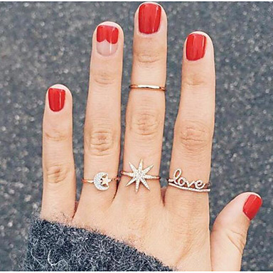 billige Motering-Dame Ring Ring Set Midiringe 4stk Gull Strass Legering Enkel Europeisk trendy Daglig Karneval Smykker Klassisk MOON Stjerne Nordstjernen Kul