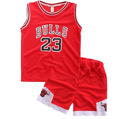 povoljno Kompletići za dječake-Djeca Dječaci Osnovni Ulični šik Print Bez rukávů Regularna Normalne dužine Komplet odjeće Red