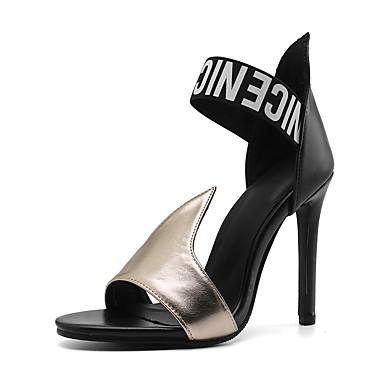 levne Dámské sandály-Dámské Sandály Vysoký úzký Otevřený palec PU / Syntetický Vintage / Minimalismus Jaro léto Bílá / Zlatá / Barevné bloky / Heslo