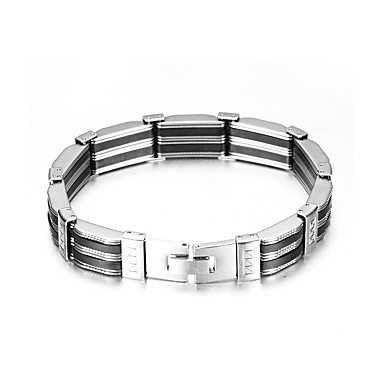 levne Pánské šperky-Pánské Náramek Link / řetězec Vertikálně Evropský Silica gel Náramek šperky Stříbrná Pro Denní / Titanová ocel