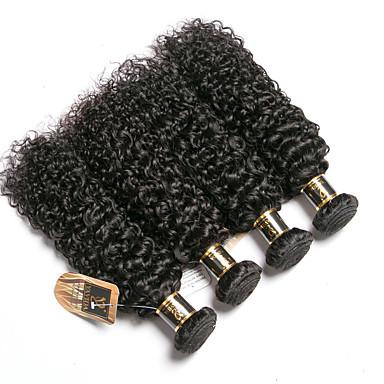 povoljno Ekstenzije od ljudske kose-6 paketića Brazilska kosa Kinky Curly 100% Remy kose tkanja Bundle Ljudske kose plete Bundle kose Jedan Pack Solution 8-28 inch Prirodna boja Isprepliće ljudske kose Odor Free Jednostavan dressing