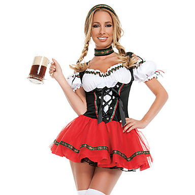 cheap Halloween Props-Dirndl Trachtenkleider Women's Bavarian Vacation Dress Beer Festival Oktoberfest Costume Dirndl Oktoberfest Beer Festival / Holiday Black Easy Carnival Costumes Color Block