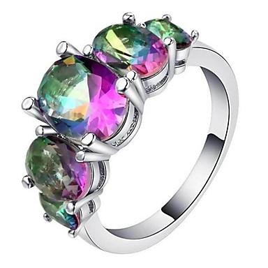 billige Motering-Dame Band Ring Ring Kubisk Zirkonium 1pc Regnbue Kobber Geometrisk Form Stilfull Luksus Europeisk Fest Gave Smykker Klassisk Kul