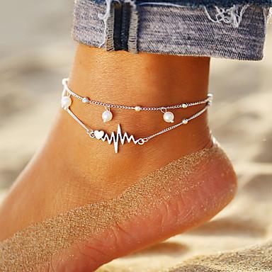 levne Dámské šperky-Dámské kotník náramek šperky na nohy Vícevrstvé Srdce Srdeční frekvence Cikánské Módní Hotwife Nákotník Šperky Stříbrná Pro Denní Dovolená