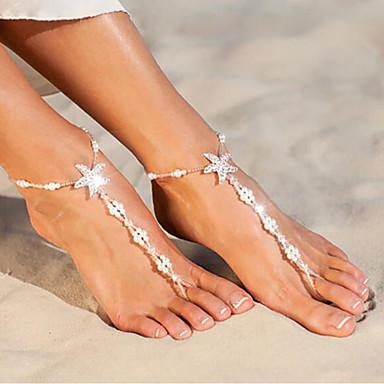 levne Dámské šperky-Dámské Yalınayak Sandaletleri Mořská hvězdice Mušle Cute Style Napodobenina perel Nákotník Šperky Bílá Pro Denní