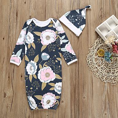 povoljno Odjeća za bebe-2kom Dijete Djevojčice Cvjetni print / Geometrijski oblici / Print Sa stilom / Cvijetan / Cvjetni Style Pamuk Sleepwear Navy Plava
