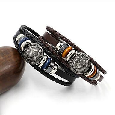 voordelige Herensieraden-Heren Wikkelarmbanden Gevlochten Leeuw Punk tekonahka Armband sieraden Zwart / Bruin Voor Dagelijks