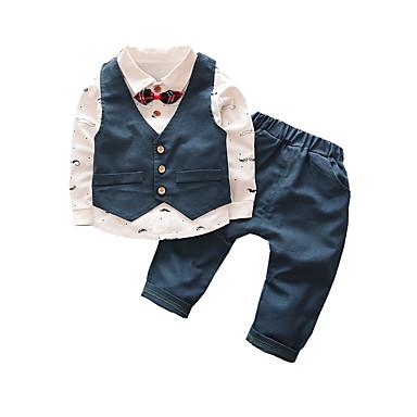 povoljno Odjeća za dječake-Dijete koje je tek prohodalo Dječaci Osnovni Print Mašna Dugih rukava Pamuk Komplet odjeće Djetelina