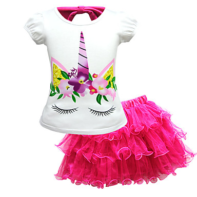 cheap Girls' Clothing Sets-Kids Toddler Girls' Active Street chic Unicorn Print Lace Short Sleeve Regular Regular Cotton Clothing Set Blushing Pink