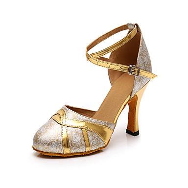 preiswerte Tanzschuhe-Damen Tanzschuhe PU Schuhe für modern Dance Farbaufsatz Absätze Kubanischer Absatz Maßfertigung Gold / Praxis