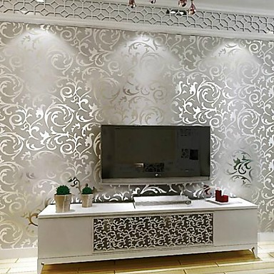 cheap Wallpaper-Wallpaper Plastic & Metal Wall Covering - Adhesive required Metallic