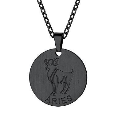 levne Dámské šperky-Dámské Náhrdelníky s přívěšky Náhrdelník Charm náhrdelník Mince Aries Jednoduchý Módní Pozlaceno 18k Titanová ocel Zlatá Černá Stříbrná 55 cm Náhrdelníky Šperky 1ks Pro Promoce Dar Denní Škola