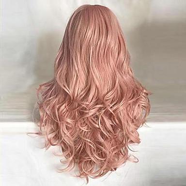 povoljno Perike i ekstenzije-Sintetičke perike Kovrčav Tijelo Wave Stil Bob frizura Capless Perika Pink Ružičasta Sintentička kosa 24 inch Žene sintetički Prirodna linija za kosu Srednji dio Pink Perika Dug HAIR CUBE
