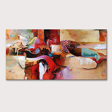 povoljno Ulja na platnu-Hang oslikana uljanim bojama Ručno oslikana - Ljudi Mustard Moderna Bez unutrašnje Frame