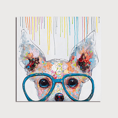cheap Wall Art-Oil Painting Hand Painted - Animals Modern Stretched Canvas