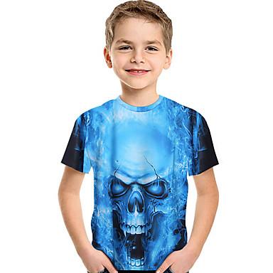 povoljno Odjeća za dječake-Djeca Dijete koje je tek prohodalo Dječaci Aktivan Osnovni Print Print Kratkih rukava Majica s kratkim rukavima Plava