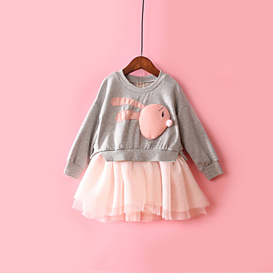 povoljno Odjeća za bebe-Dijete Djevojčice Aktivan Color block Mrežica / Kolaž Dugih rukava Midi Pamuk Haljina Red / Dijete koje je tek prohodalo