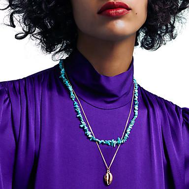 levne Dámské šperky-Dámské Tyrkysová Obojkové náhrdelníky Náhrdelník vrstvené Náhrdelníky Stohovatelné Vertikálně U tvar příroda Dovolená Moderní Romantické Chrome Kámen Zlatá Stříbrná 38+5 cm Náhrdelníky Šperky 2pcs Pro