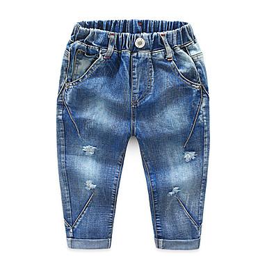 povoljno Odjeća za dječake-Djeca Dječaci Osnovni Ulični šik Jednobojni Rupica ripped Pamuk Hlače Plava