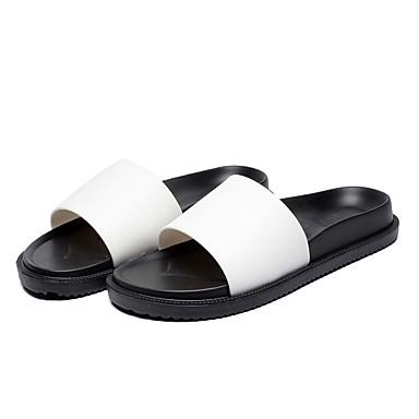 levne Dámské žabky a pantofle-Dámské Pantofle a Žabky Rovná podrážka PVC Klasické / Vintage Léto / Podzim Černá / Černobílá