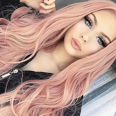 cheap Synthetic Trendy Wigs-Synthetic Wig Curly Body Wave Bob Asymmetrical Middle Part Wig Pink Long Pink Purple Synthetic Hair 24 inch Women's Synthetic Natural Hairline Middle Part Pink HAIR CUBE / African American Wig