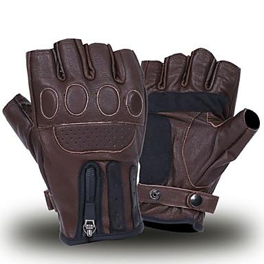 billige Motorsykkel & ATV tilbehør-retro brun biker skinnhansker motorsykkel varme hansker halv finger hansker