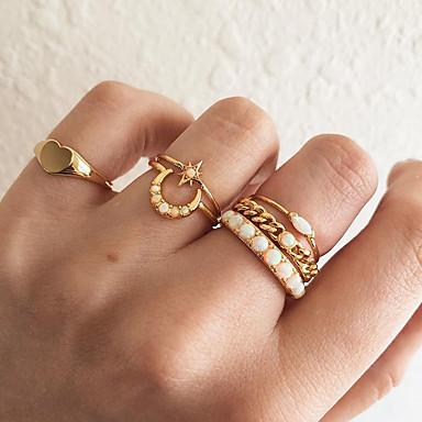billige Motering-Dame Knokering Ring Set Midi Ring Syntetisk Opal 6pcs Gull Fuskediamant Legering Rund Enkel Vintage Koreansk Gave Daglig Smykker Retro MOON Hjerte Stjerne Heart