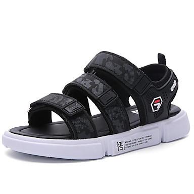 ราคาถูก Thick Soled Sandals-เด็กผู้ชาย ความสะดวกสบาย หนังเทียม รองเท้าแตะ เด็กวัยหัดเดิน (9m-4ys) / เด็กน้อย (4-7ys) / Big Kids (7 ปี +) ผ้าขนสัตว์สีธรรมชาติ / สีดำและสีขาว / สีน้ำเงินกรมท่า ฤดูร้อน