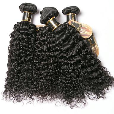 povoljno Ekstenzije od ljudske kose-6 paketića Brazilska kosa Kinky Curly 100% Remy kose tkanja Bundle Ljudske kose plete Produžetak Bundle kose 8-28 inch Prirodna boja Isprepliće ljudske kose Odor Free Nježno Gust Proširenja ljudske