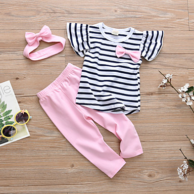 povoljno Odjeća za bebe-Dijete Djevojčice Ležerne prilike / Aktivan Prugasti uzorak Nabori Kratkih rukava Regularna Pamuk Komplet odjeće Blushing Pink / Dijete koje je tek prohodalo