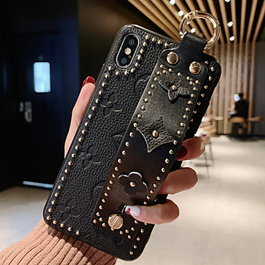 cheap iPhone Cases-Case For Apple iPhone XS / iPhone XR / iPhone XS Max with Stand / DIY Back Cover Geometric Pattern Soft Genuine Leather