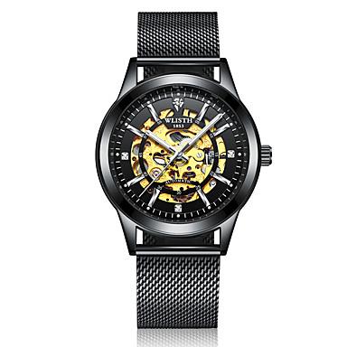 levne Pánské-Pánské mechanické hodinky Mechanické manuální natahování Nerez Černá / Stříbro 30 m Voděodolné S dutým gravírováním Svítící Analogové Módní Kostra - stříbrná / černá zlatá + bílá Růžové zlato