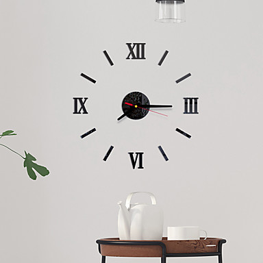cheap Wall Clocks-Modern Contemporary / Fashion Acrylic Round Classic Theme Indoor / Outdoor Battery Decoration Wall Clock Yes Black No