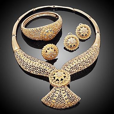 levne Dámské šperky-Dámské Zlatá Kotníkové náramky Çelenkler Svatební šperky Soupravy Houba Kytky Botanický motiv Jednoduchý Klasické Cikánské Cikánský Elegantní Pozlaceno 18k Náušnice Šperky Zlatá Pro Vánoce Svatebn