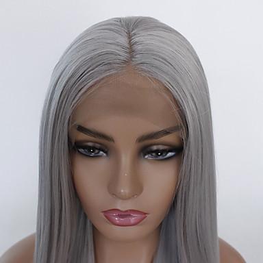 Συνθετικές μπροστινές περούκες δαντέλας Ίσιο Κούρεμα με φιλάρισμα Δαντέλα Μπροστά Περούκα Μακρύ Γκρι Συνθετικά μαλλιά Γυναικεία Ανθεκτικό στη Ζέστη Γκρι