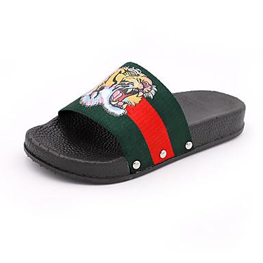 voordelige Damespantoffels & slippers-Dames Canvas Zomer Slippers & Flip-Flops Platte hak Groen / Blauw