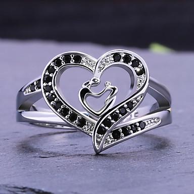 billige Statement Ringe-Dame Statement Ring Ring Kubisk Zirkonium 1pc Hvit Kobber Geometrisk Form Stilfull Luksus Fest Gave Smykker Hjerte Kul