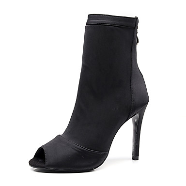 cheap Dance Boots-Women's Dance Shoes Faux Leather Dance Boots Heel Slim High Heel Customizable Black / Performance / Practice