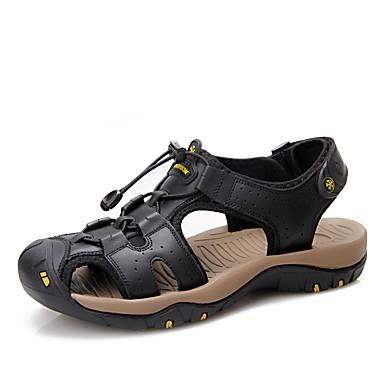Ανδρικά Παπούτσια άνεσης Νάπα Leather Ανοιξη καλοκαίρι Καθημερινό Σανδάλια Αναπνέει Μαύρο / Μπλε / Μπορντώ