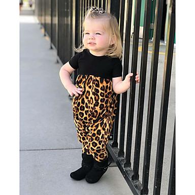 povoljno Odjeća za bebe-Dijete Djevojčice Aktivan / Osnovni Leopard Print Kratki rukav Pamuk Kombinezon Crn / Dijete koje je tek prohodalo