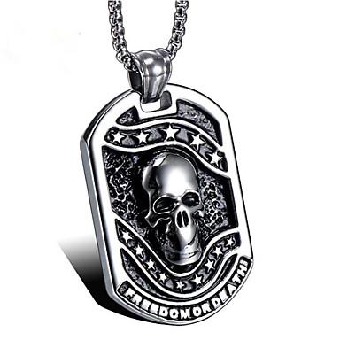 povoljno Modne ogrlice-Muškarci Ogrlice s privjeskom Klasičan Totem Series Lubanja Vintage Titanium Steel Pink 50 cm Ogrlice Jewelry 1pc Za Dar Dnevno