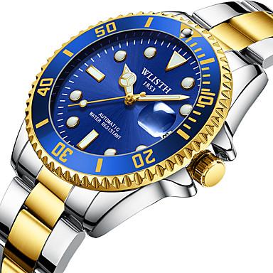 levne Pánské-WLISTH Pánské mechanické hodinky Mechanické manuální natahování Nerez Stříbro 30 m Kalendář Svítící Automatický Analogové Módní - Černá Zelená Modrá