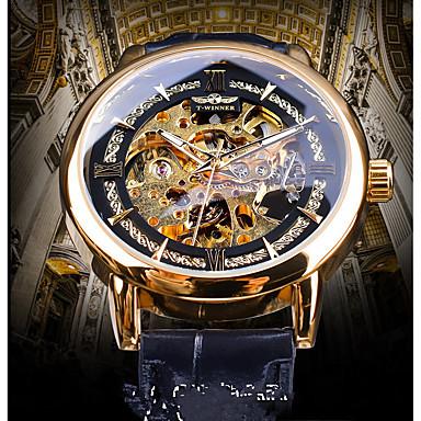 preiswerte Automatik Uhren-Herrn Uhr Mechanische Uhr Automatikaufzug Echtes Leder Schwarz Transparentes Ziffernblatt Nachts leuchtend Armbanduhren für den Alltag Analog Freizeit Retro Gold Blau
