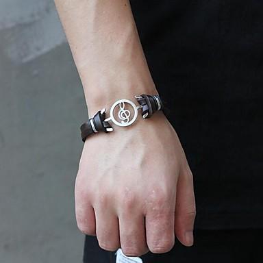 levne Pánské šperky-Pánské Kožené náramky dvouvrstvé Notička Punk Koženka Náramek šperky Černá / Hnědá Pro Denní